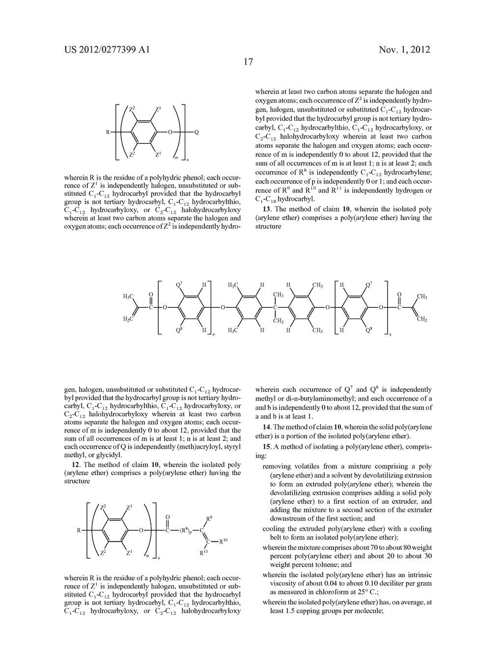 METHOD OF SEPARATING A POLY(ARYLENE ETHER) COMPOSITION FROM A SOLVENT, AND     POLY(ARYLENE ETHER) COMPOSITION PREPARED THEREBY - diagram, schematic, and image 23