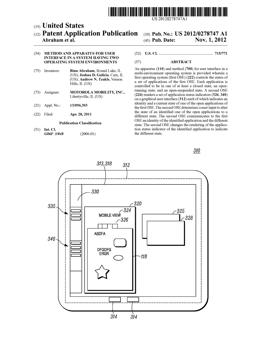 METHOD AND APPARATUS FOR USER INTERFACE IN A SYSTEM HAVING TWO OPERATING     SYSTEM ENVIRONMENTS - diagram, schematic, and image 01
