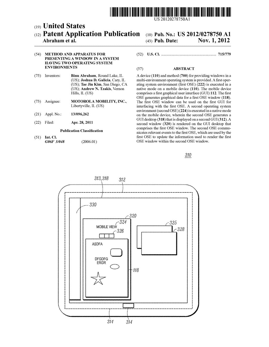 METHOD AND APPARATUS FOR PRESENTING A WINDOW IN A SYSTEM HAVING TWO     OPERATING SYSTEM ENVIRONMENTS - diagram, schematic, and image 01