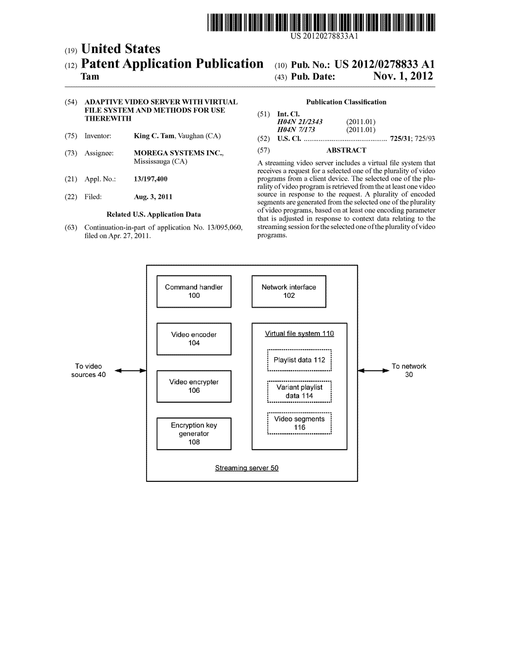 ADAPTIVE VIDEO SERVER WITH VIRTUAL FILE SYSTEM AND METHODS FOR USE     THEREWITH - diagram, schematic, and image 01