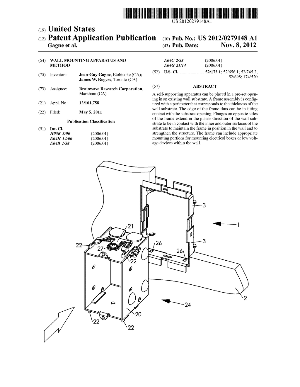 WALL MOUNTING APPARATUS AND METHOD - diagram, schematic, and image 01