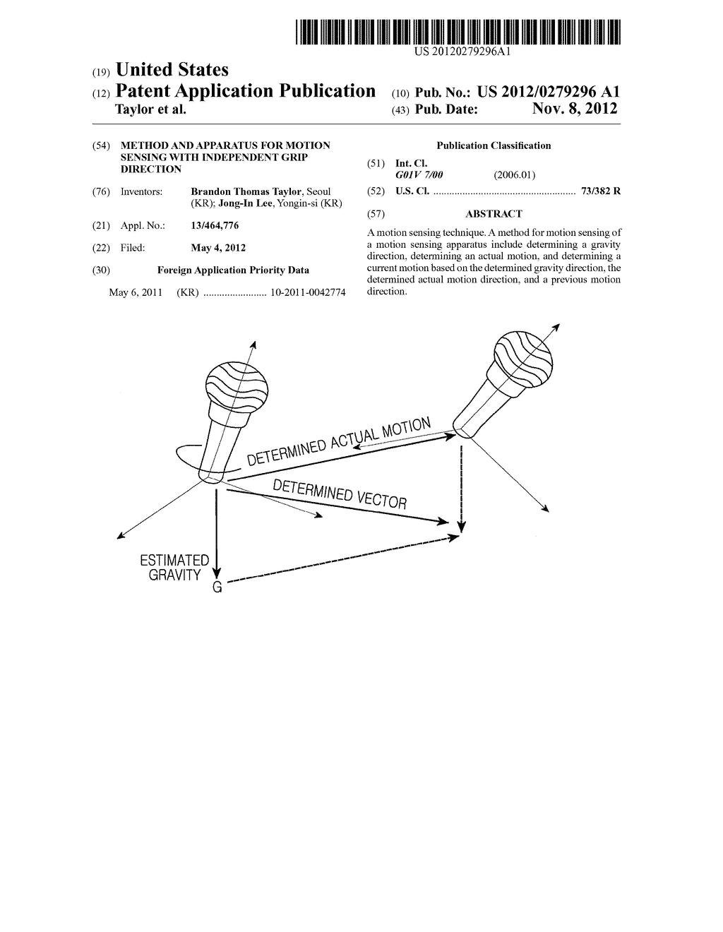METHOD AND APPARATUS FOR MOTION SENSING WITH INDEPENDENT GRIP DIRECTION - diagram, schematic, and image 01