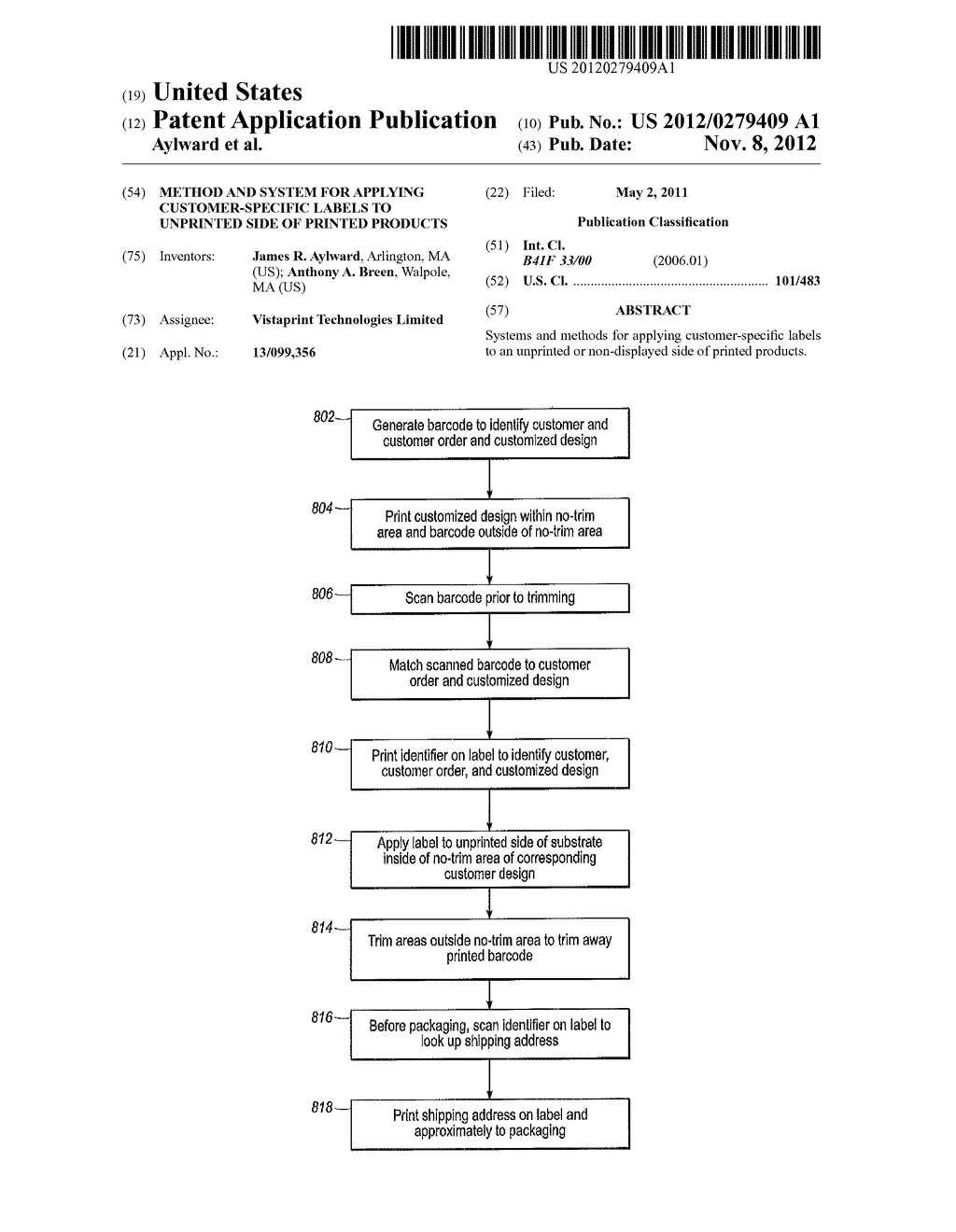 METHOD AND SYSTEM FOR APPLYING CUSTOMER-SPECIFIC LABELS TO UNPRINTED SIDE     OF PRINTED PRODUCTS - diagram, schematic, and image 01