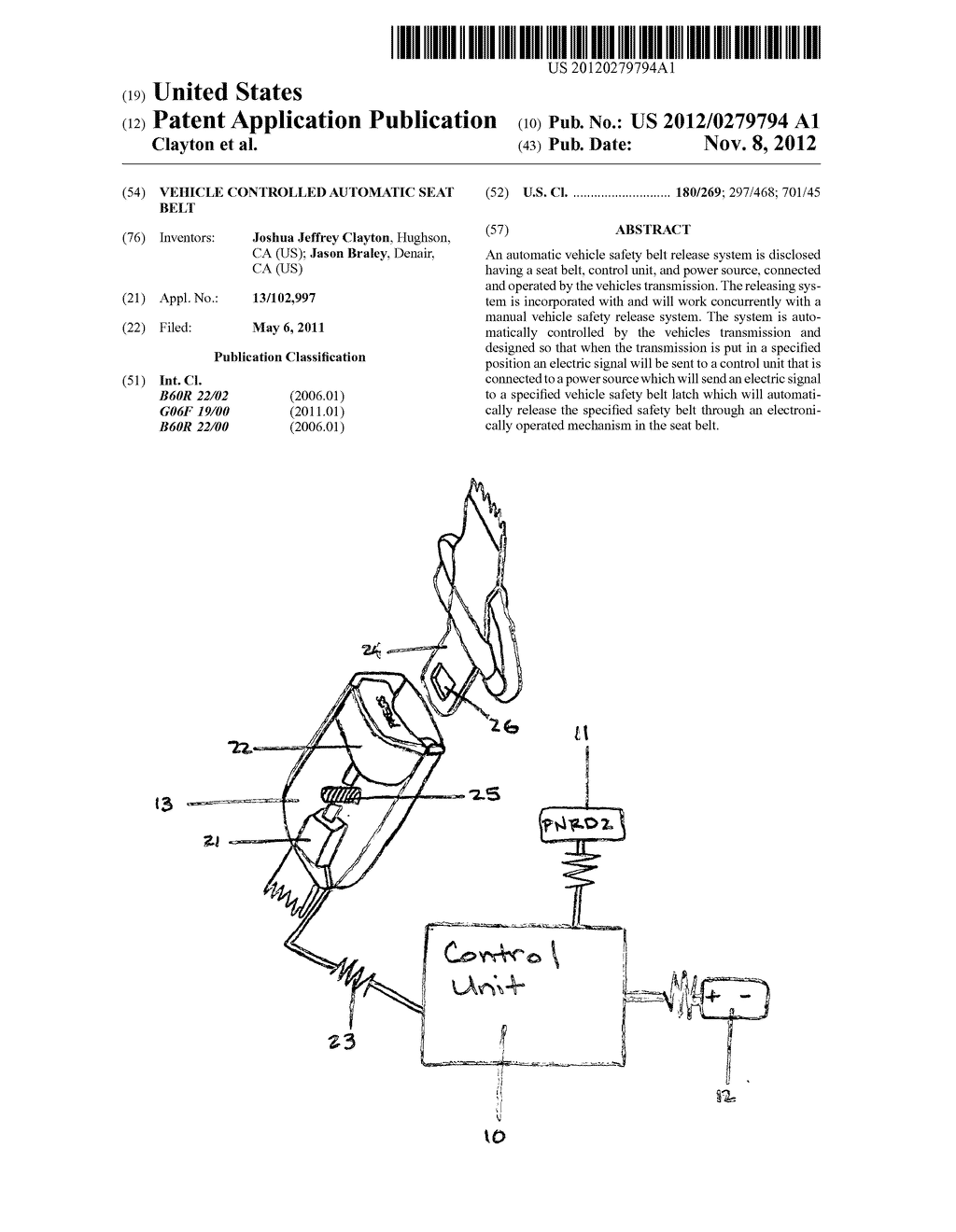 Vehicle Controlled Automatic Seat Belt - diagram, schematic, and image 01