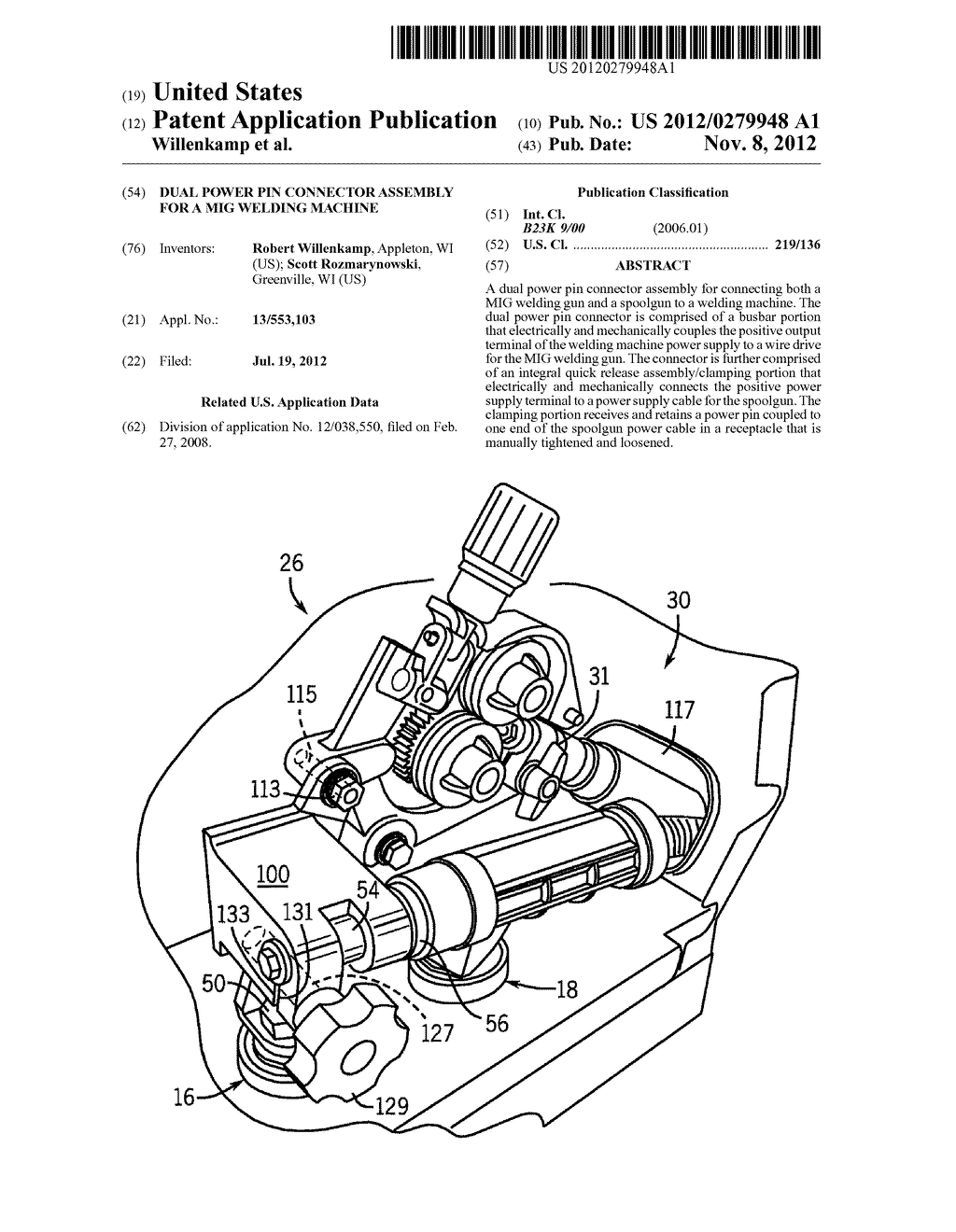 Dual Power Pin Connector Assembly For A MIG Welding Machine - diagram,  schematic, and image 01