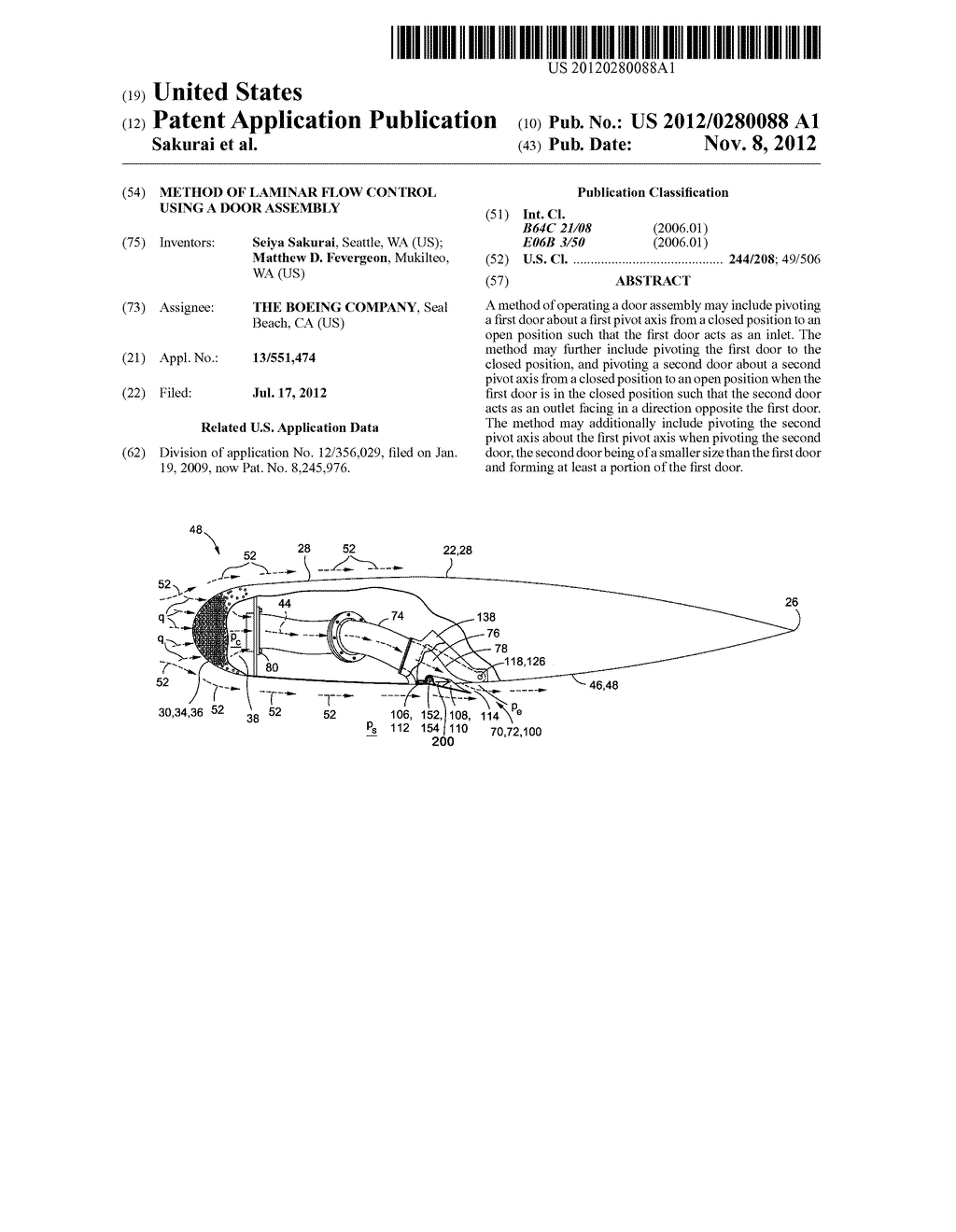 METHOD OF LAMINAR FLOW CONTROL USING A DOOR ASSEMBLY - diagram, schematic, and image 01