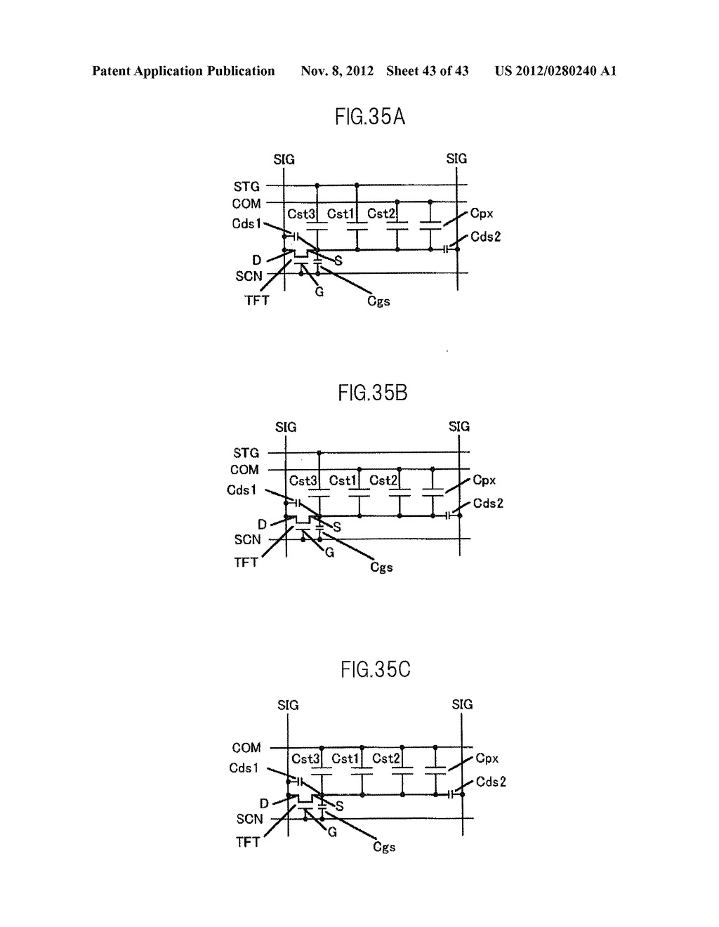 LIQUID CRYSTAL DISPLAY DEVICE HAVING FIRST, SECOND, AND THIRD TRANSPARENT     ELECTRODES WHEREIN A SECOND REGION OF THE SECOND ELECTRODE PROTRUDES FROM     A FIRST REGION - diagram, schematic, and image 44