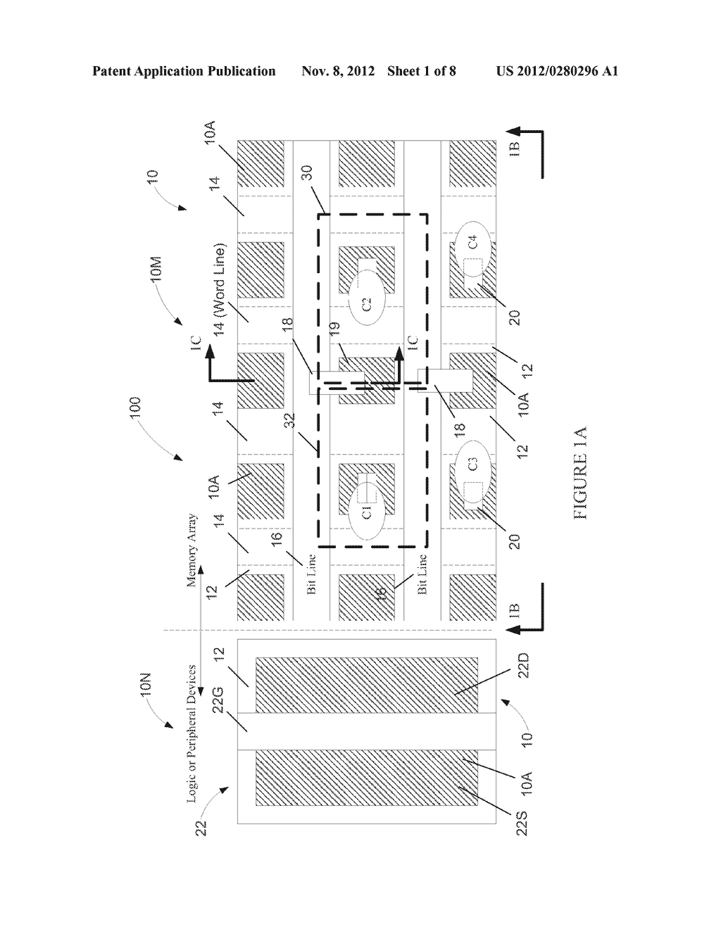 Semiconductor Device with DRAM Bit Lines Made From Same Material as Gate     Electrodes in Non-Memory Regions of the Device, and Methods of Making     Same - diagram, schematic, and image 02