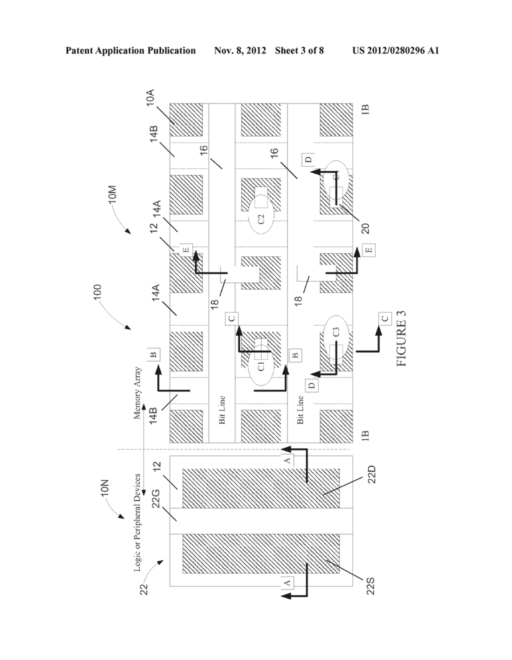 Semiconductor Device with DRAM Bit Lines Made From Same Material as Gate     Electrodes in Non-Memory Regions of the Device, and Methods of Making     Same - diagram, schematic, and image 04