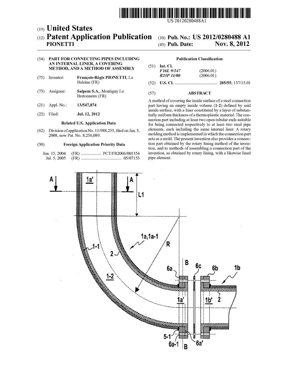 Part for connecting pipes including an internal liner, a covering method,     and a method of assembly - diagram, schematic, and image 01