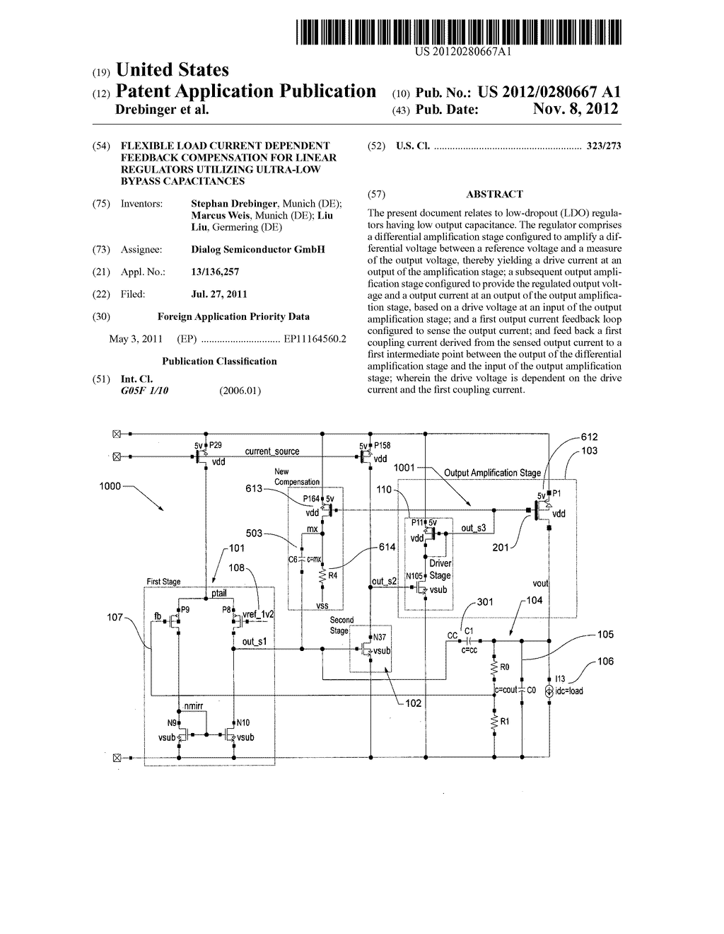 Flexible load current dependent feedback compensation for linear     regulators utilizing ultra-low bypass capacitances - diagram, schematic, and image 01
