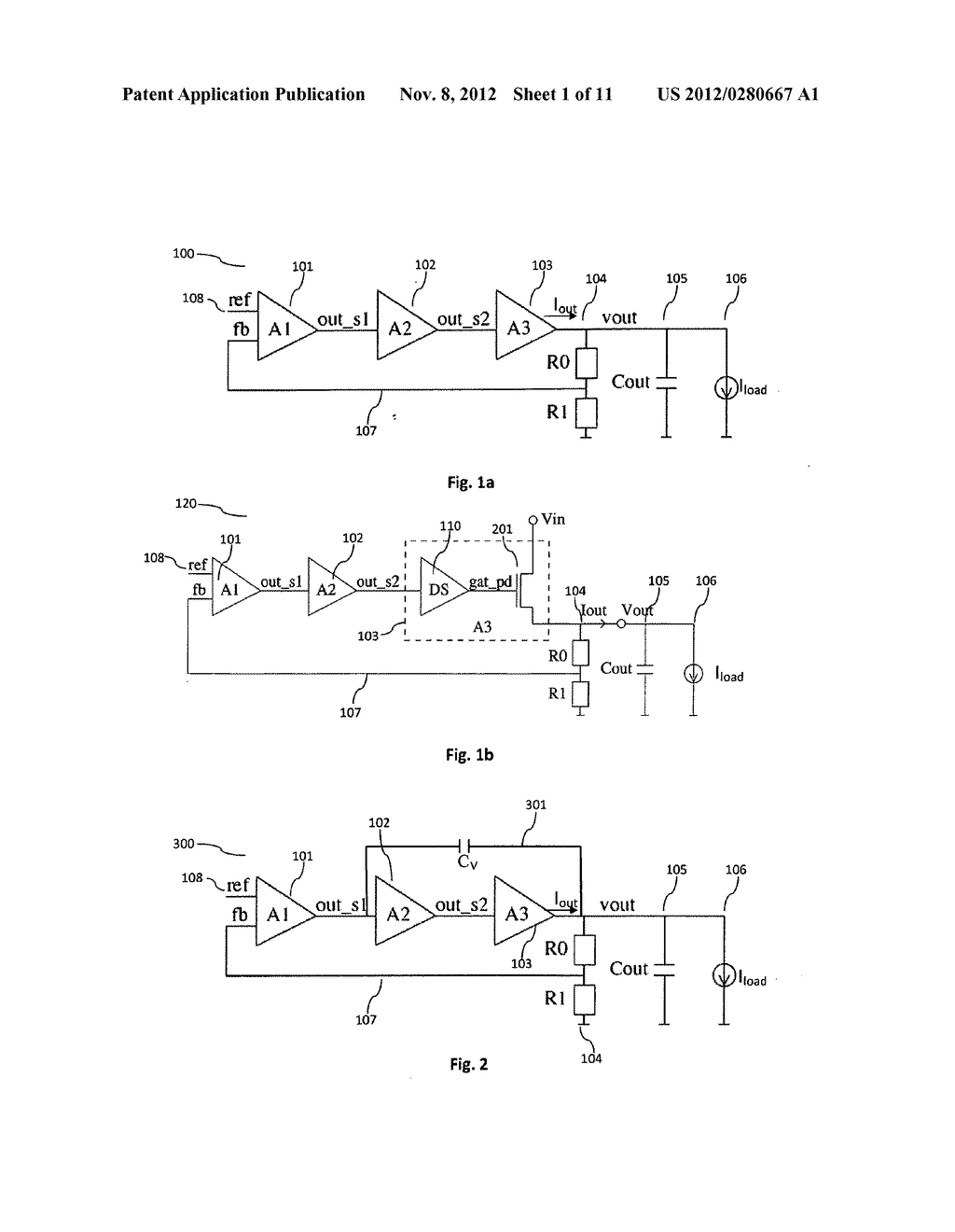 Flexible load current dependent feedback compensation for linear     regulators utilizing ultra-low bypass capacitances - diagram, schematic, and image 02
