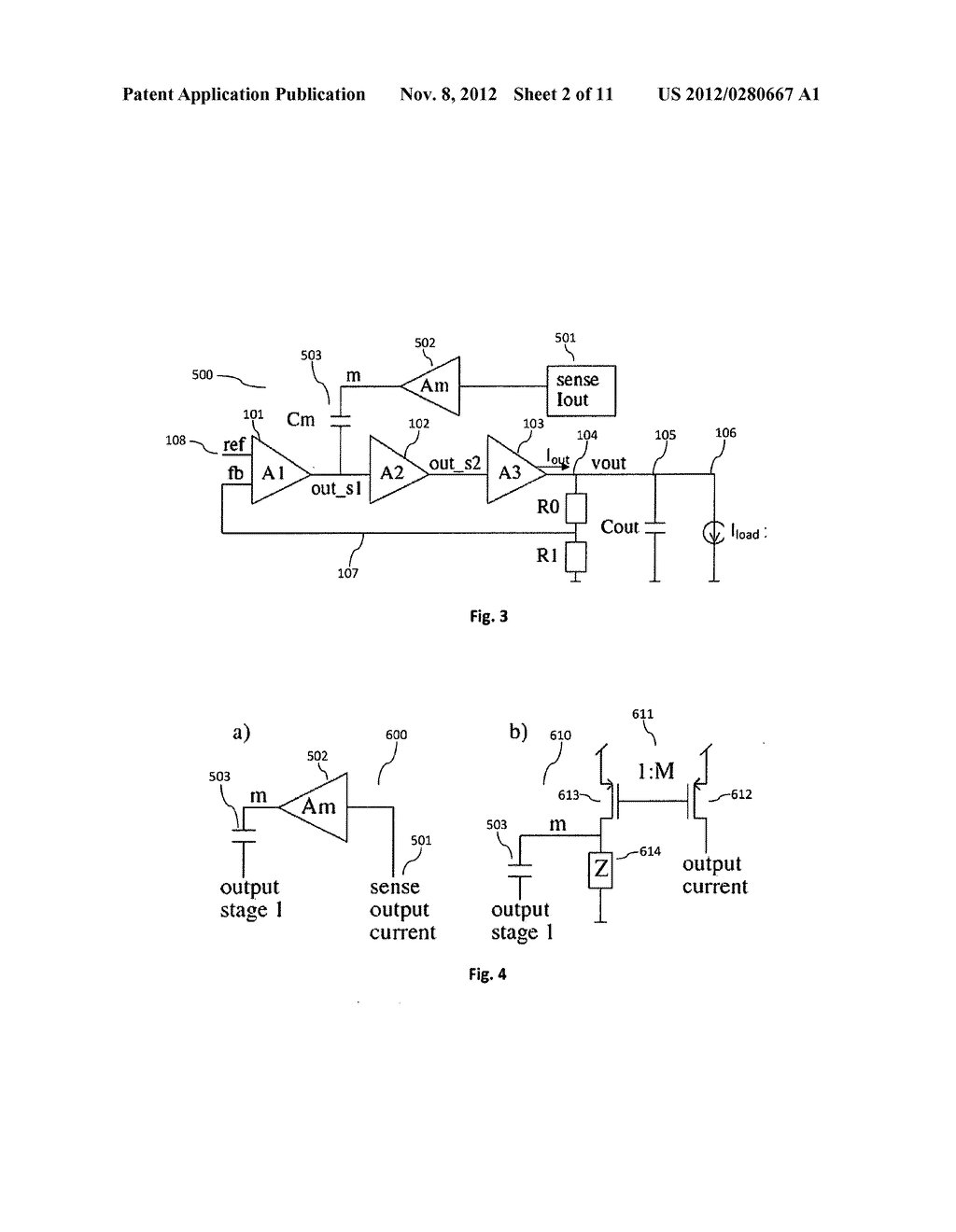 Flexible load current dependent feedback compensation for linear     regulators utilizing ultra-low bypass capacitances - diagram, schematic, and image 03