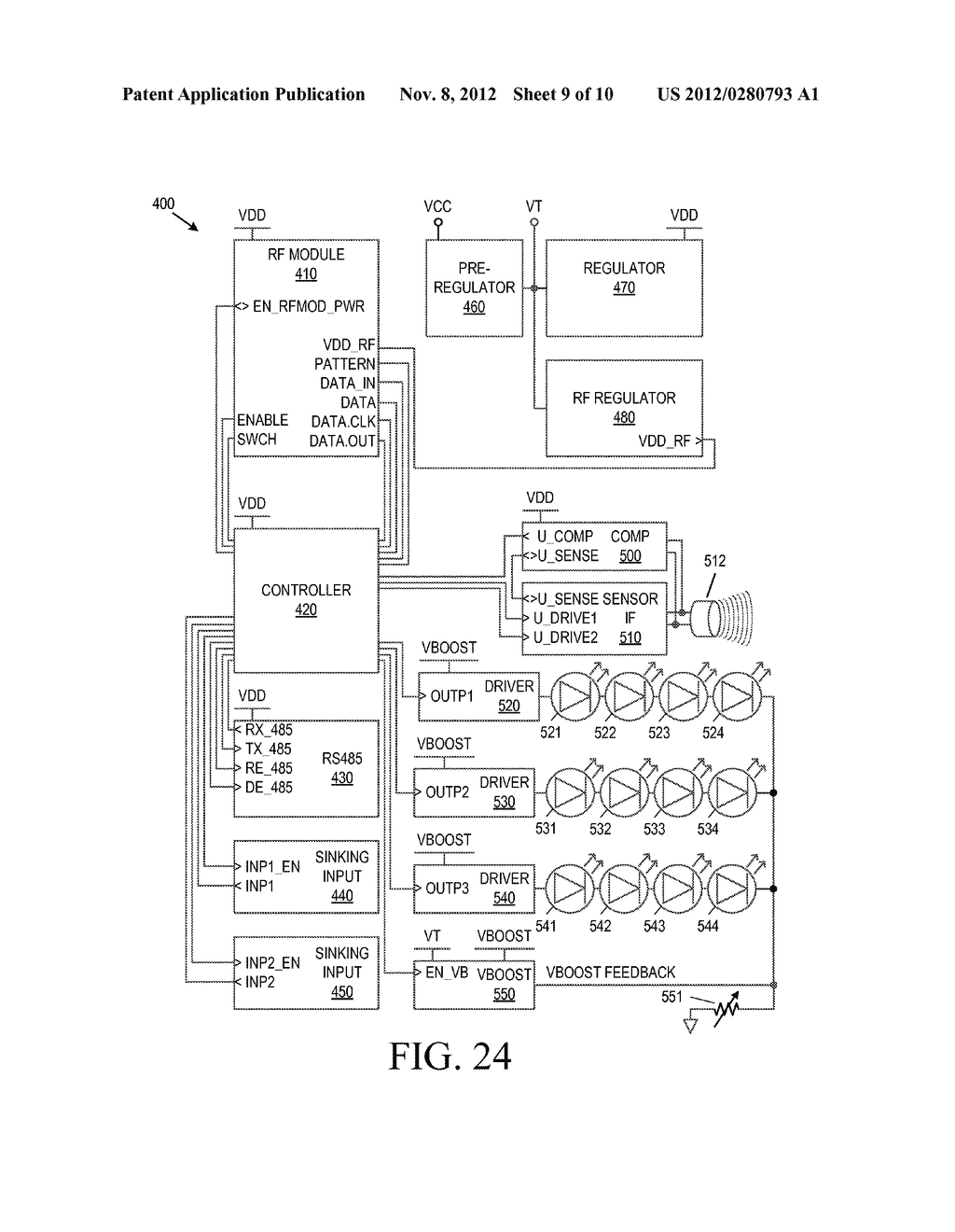 Apparatus and Method for Power Management of a System of Indicator Light     Devices - diagram, schematic, and image 10