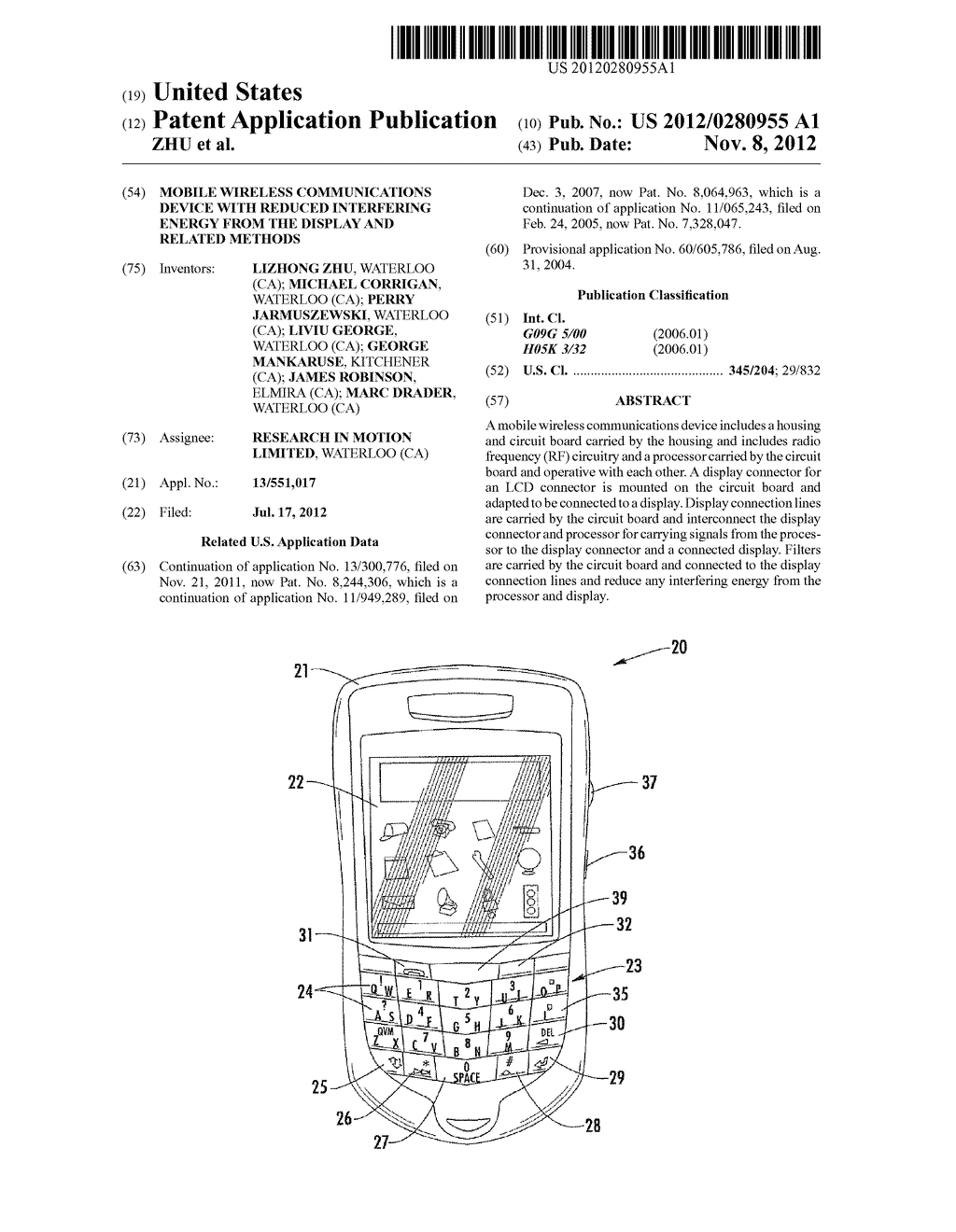 MOBILE WIRELESS COMMUNICATIONS DEVICE WITH REDUCED INTERFERING ENERGY FROM     THE DISPLAY AND RELATED METHODS - diagram, schematic, and image 01