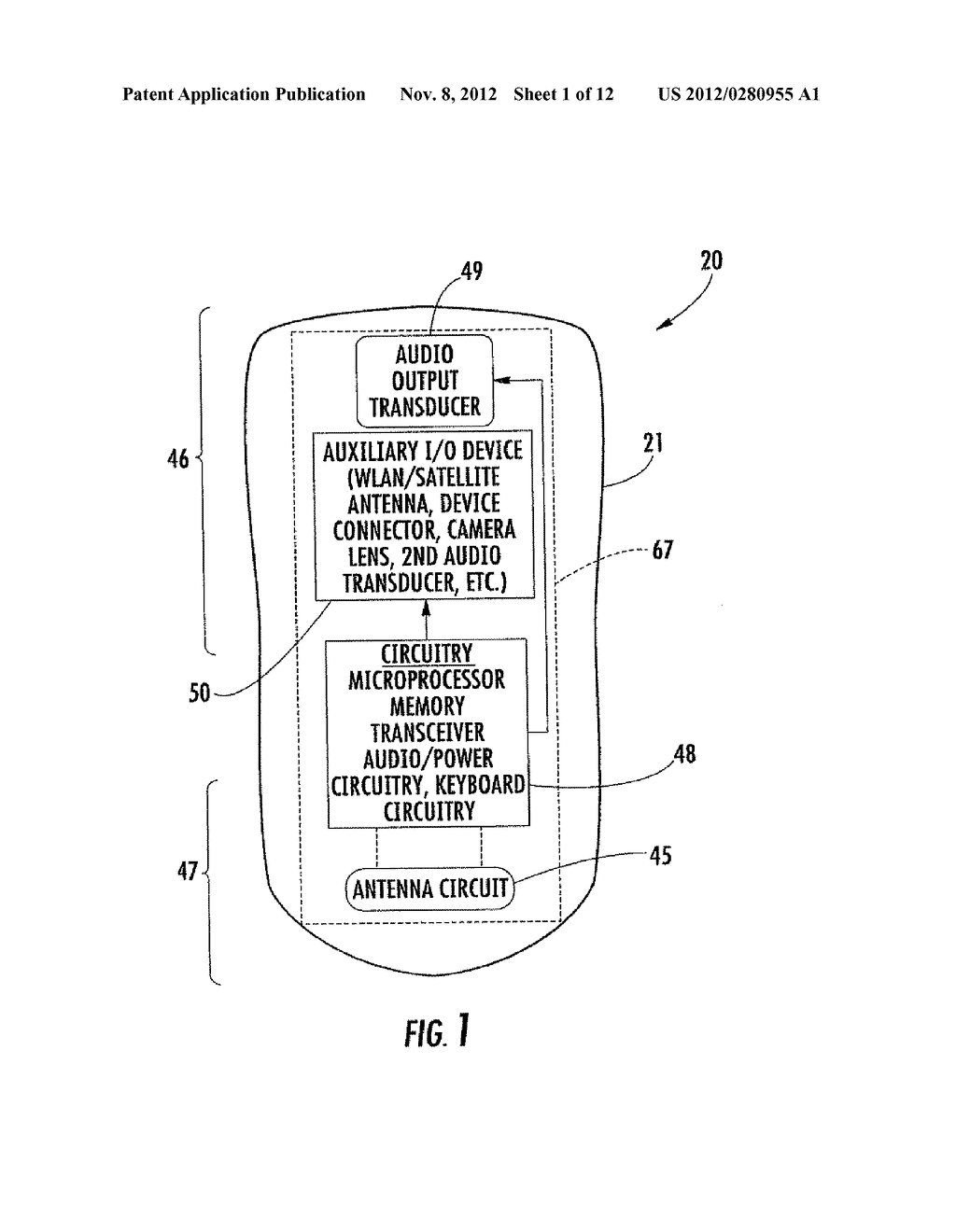 MOBILE WIRELESS COMMUNICATIONS DEVICE WITH REDUCED INTERFERING ENERGY FROM     THE DISPLAY AND RELATED METHODS - diagram, schematic, and image 02