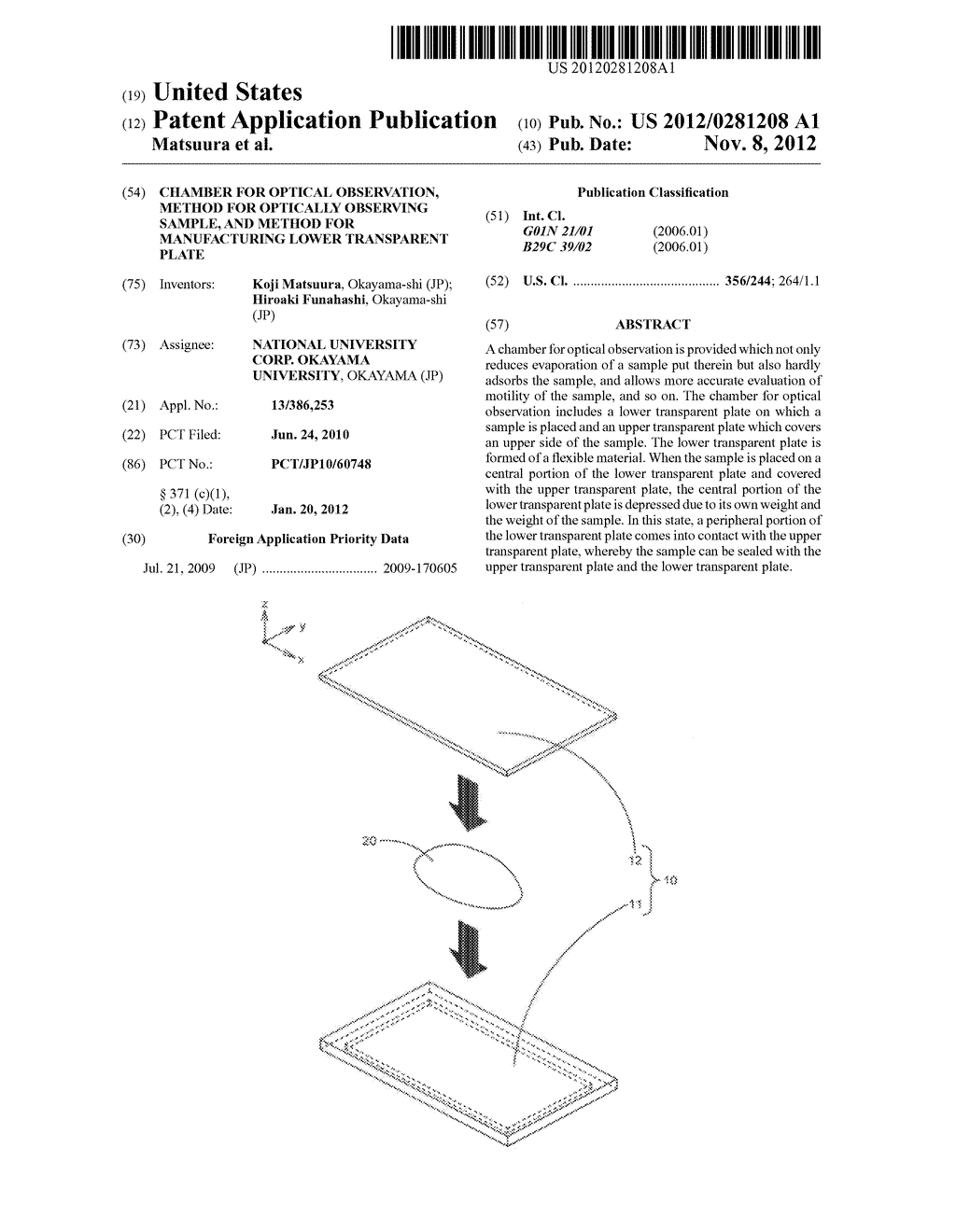 CHAMBER FOR OPTICAL OBSERVATION, METHOD FOR OPTICALLY OBSERVING SAMPLE,     AND METHOD FOR MANUFACTURING LOWER TRANSPARENT PLATE - diagram, schematic, and image 01