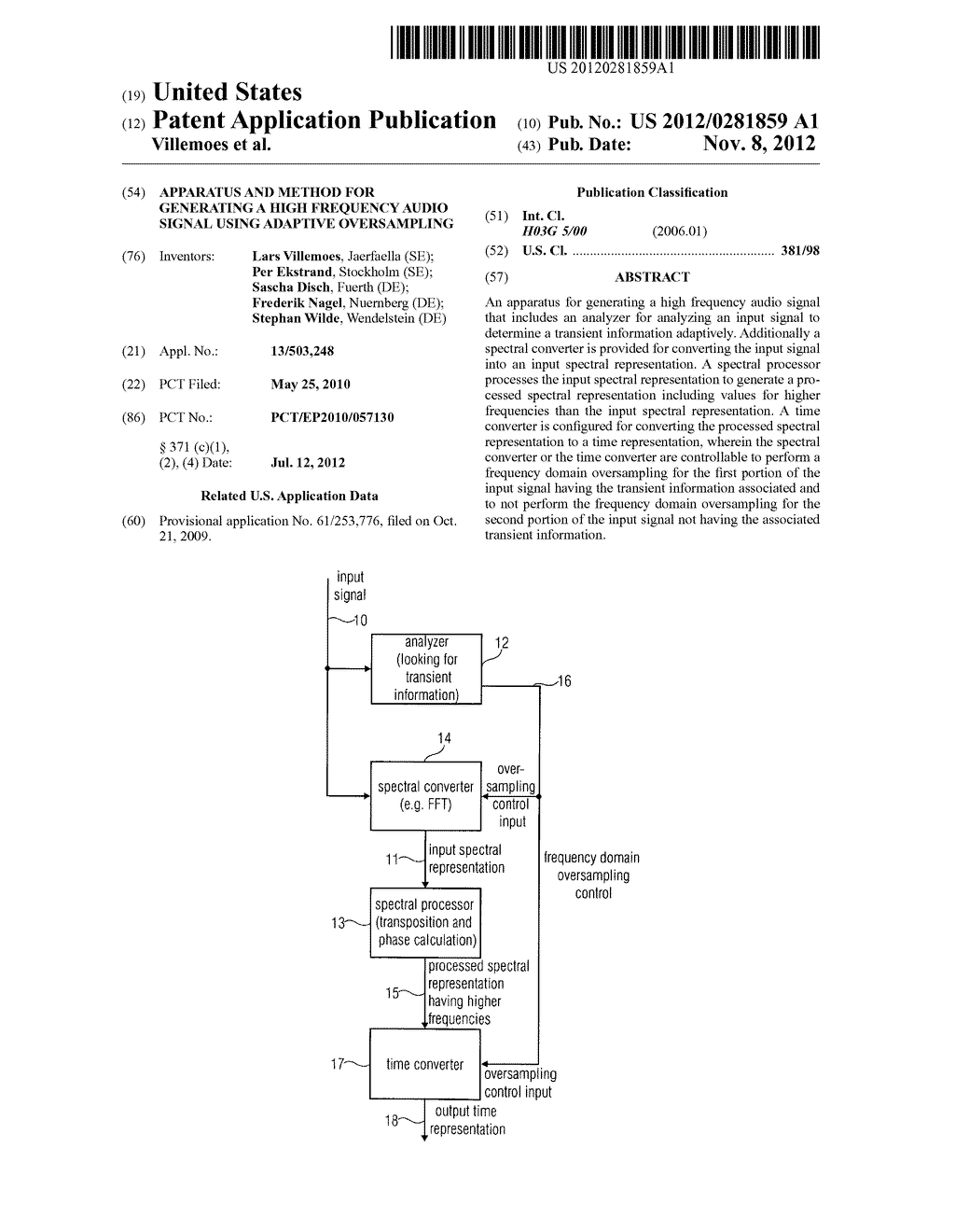 APPARATUS AND METHOD FOR GENERATING A HIGH FREQUENCY AUDIO SIGNAL USING     ADAPTIVE OVERSAMPLING - diagram, schematic, and image 01
