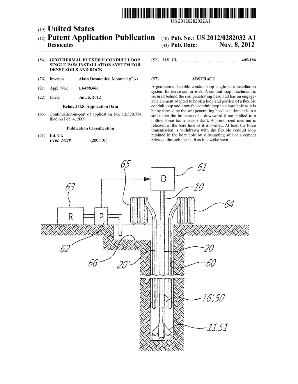 GEOTHERMAL FLEXIBLE CONDUIT LOOP SINGLE PASS INSTALLATION SYSTEM FOR DENSE     SOILS AND ROCK - diagram, schematic, and image 01