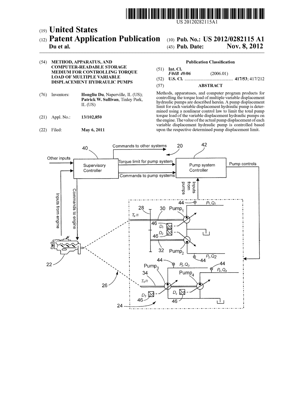 METHOD, APPARATUS, AND COMPUTER-READABLE STORAGE MEDIUM FOR CONTROLLING     TORQUE LOAD OF MULTIPLE VARIABLE DISPLACEMENT HYDRAULIC PUMPS - diagram, schematic, and image 01