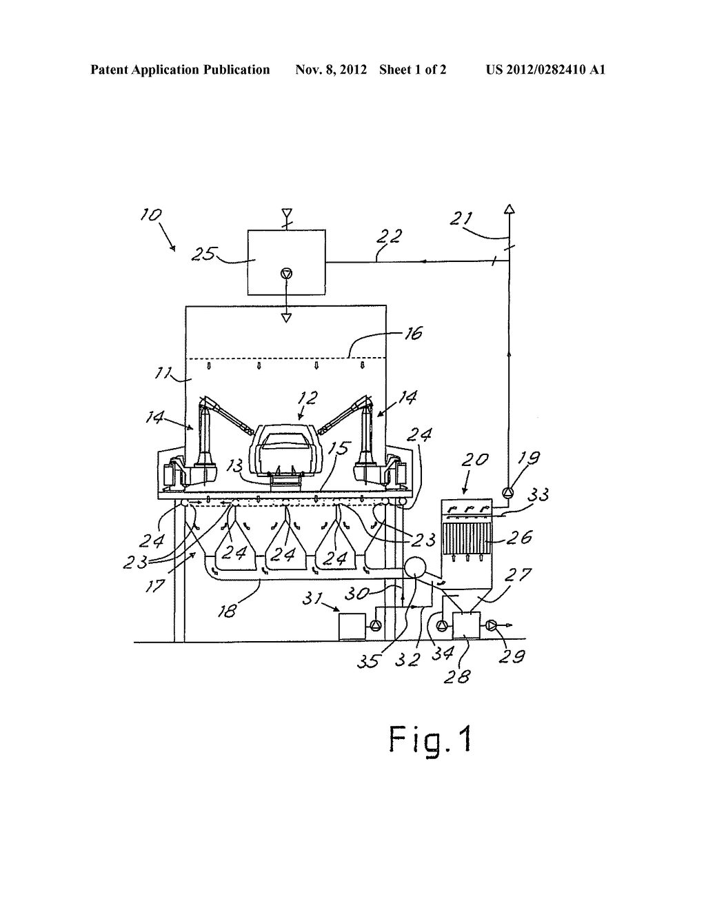 APPARATUS AND METHOD FOR RECOVERY AND DRY TREATMENT OF OVERSPRAY IN A     PAINTING BOOTH - diagram, schematic, and image 02
