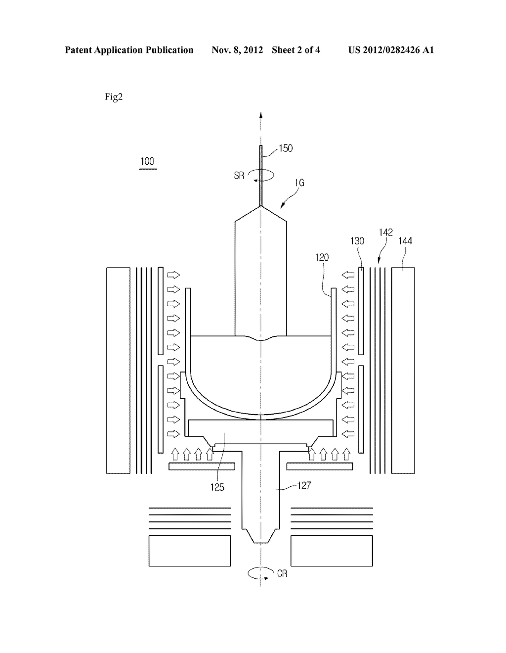 RESISTANCE HEATED SAPPHIRE SINGLE CRYSTAL INGOT GROWER, METHOD OF     MANUFACTURING RESISTANCE HEATED SAPPHIRE SNGLE CRYSTAL INGOT, SAPPHIRE     SNGLE CRYSTAL INGOT, AND SAPPHIRE WAFER - diagram, schematic, and image 03