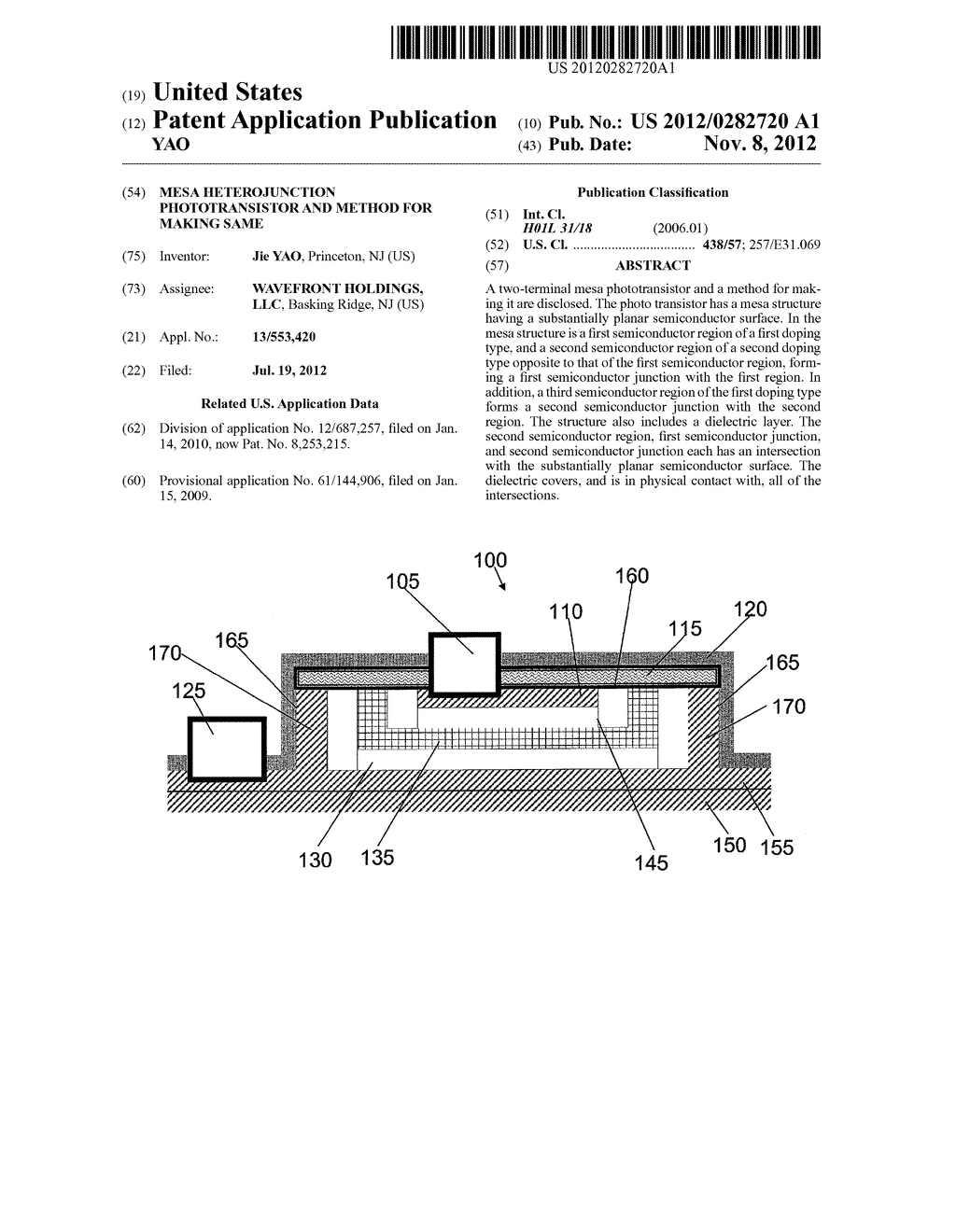 MESA HETEROJUNCTION PHOTOTRANSISTOR AND METHOD FOR MAKING SAME - diagram, schematic, and image 01
