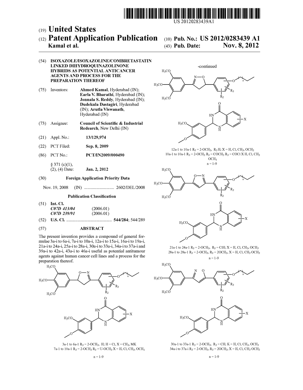 ISOXAZOLE/ISOXAZOLINE/COMBRETASTATIN LINKED DIHYDROQUINAZOLINONE HYBRIDS     AS POTENTIAL ANTICANCER AGENTS AND PROCESS FOR THE PREPARATION THEREOF - diagram, schematic, and image 01