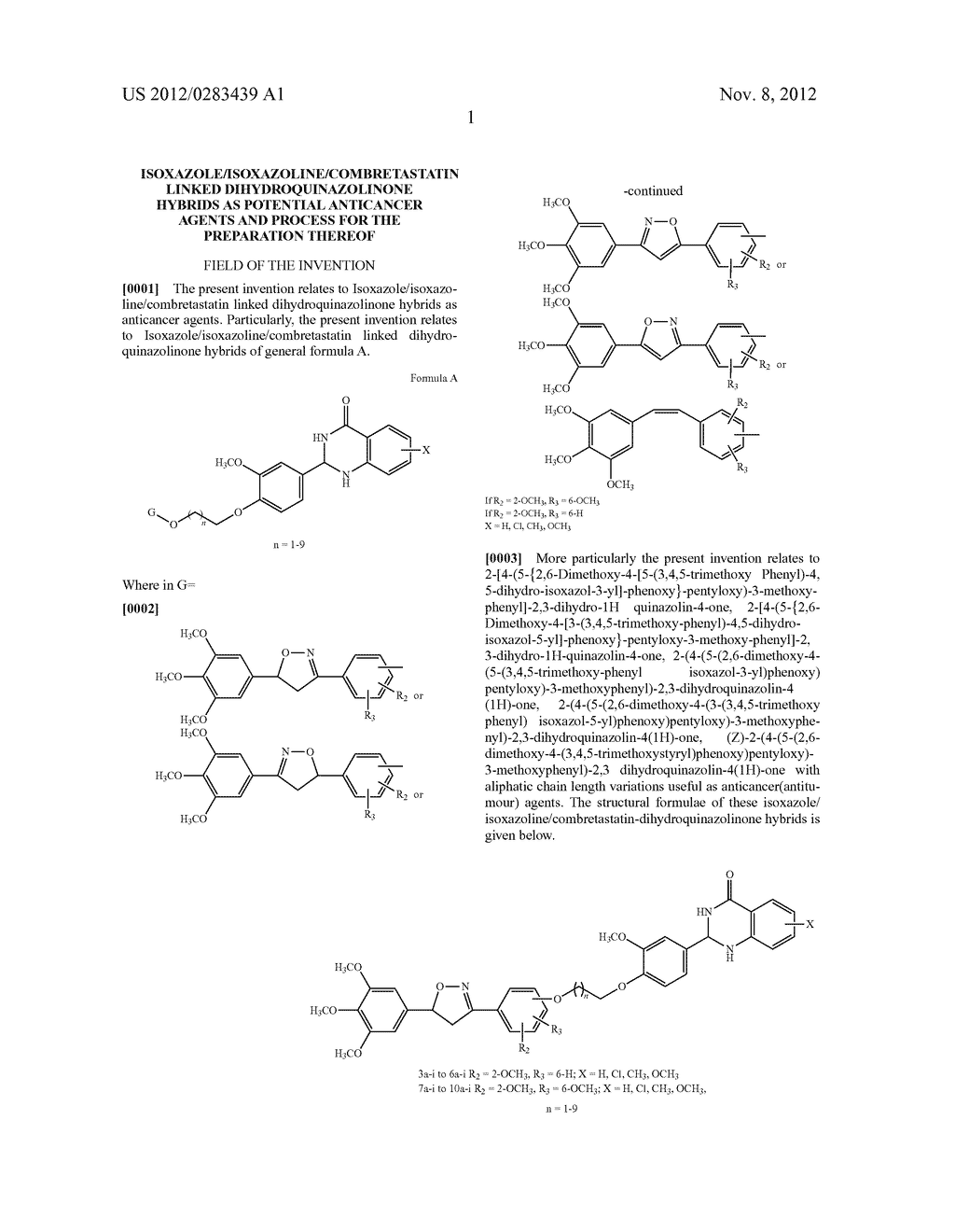 ISOXAZOLE/ISOXAZOLINE/COMBRETASTATIN LINKED DIHYDROQUINAZOLINONE HYBRIDS     AS POTENTIAL ANTICANCER AGENTS AND PROCESS FOR THE PREPARATION THEREOF - diagram, schematic, and image 03