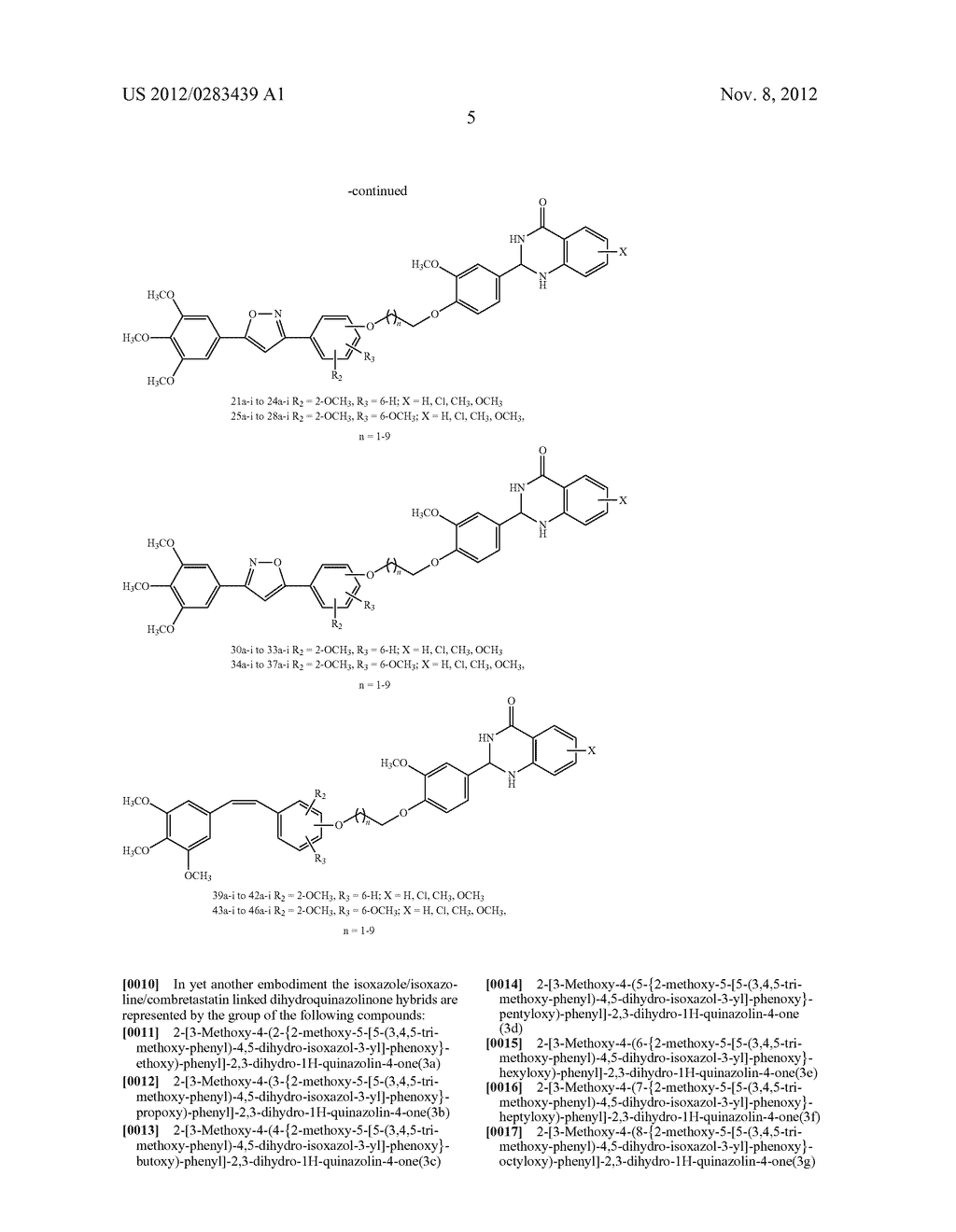ISOXAZOLE/ISOXAZOLINE/COMBRETASTATIN LINKED DIHYDROQUINAZOLINONE HYBRIDS     AS POTENTIAL ANTICANCER AGENTS AND PROCESS FOR THE PREPARATION THEREOF - diagram, schematic, and image 07