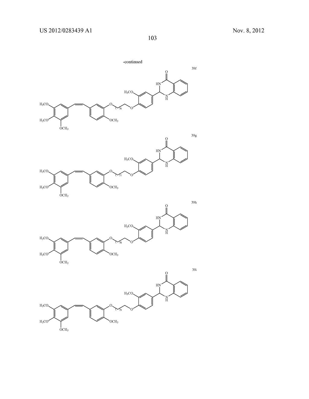 ISOXAZOLE/ISOXAZOLINE/COMBRETASTATIN LINKED DIHYDROQUINAZOLINONE HYBRIDS     AS POTENTIAL ANTICANCER AGENTS AND PROCESS FOR THE PREPARATION THEREOF - diagram, schematic, and image 105