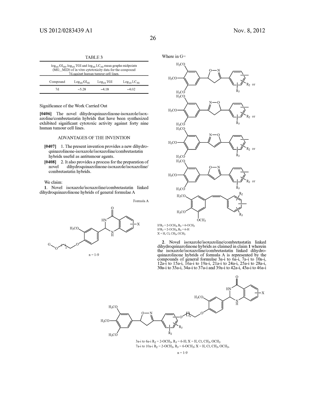 ISOXAZOLE/ISOXAZOLINE/COMBRETASTATIN LINKED DIHYDROQUINAZOLINONE HYBRIDS     AS POTENTIAL ANTICANCER AGENTS AND PROCESS FOR THE PREPARATION THEREOF - diagram, schematic, and image 28