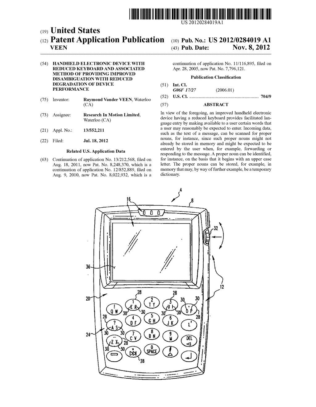 HANDHELD ELECTRONIC DEVICE WITH REDUCED KEYBOARD AND ASSOCIATED METHOD OF     PROVIDING IMPROVED DISAMBIGUATION WITH REDUCED DEGRADATION OF DEVICE     PERFORMANCE - diagram, schematic, and image 01