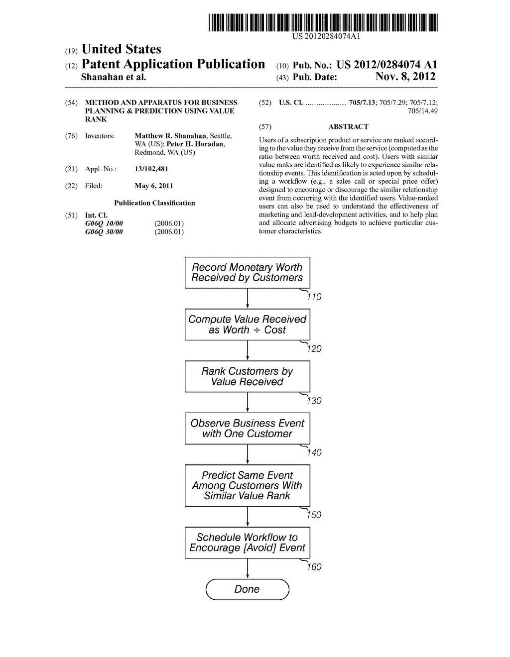 Method and Apparatus for Business Planning & Prediction Using Value Rank - diagram, schematic, and image 01
