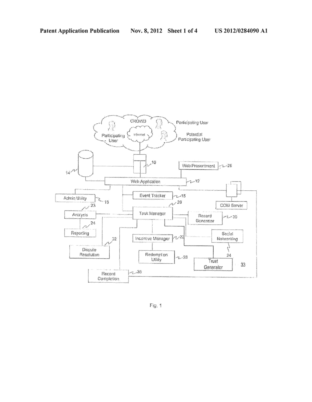 SYSTEM AND METHOD FOR ACCUMULATION AND VERIFICATION OF TRUST FOR     PARTICIPATING USERS IN A CROWD SOURCING ACTIVITY - diagram, schematic, and image 02