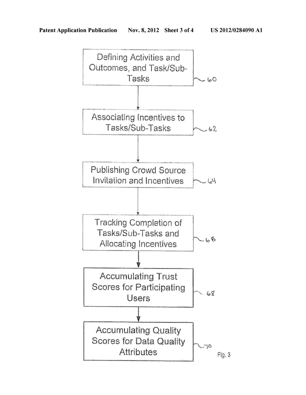 SYSTEM AND METHOD FOR ACCUMULATION AND VERIFICATION OF TRUST FOR     PARTICIPATING USERS IN A CROWD SOURCING ACTIVITY - diagram, schematic, and image 04