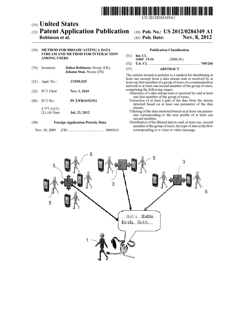 METHOD FOR BROADCASTING A DATA STREAM AND METHOD FOR INTERACTION AMONG     USERS - diagram, schematic, and image 01