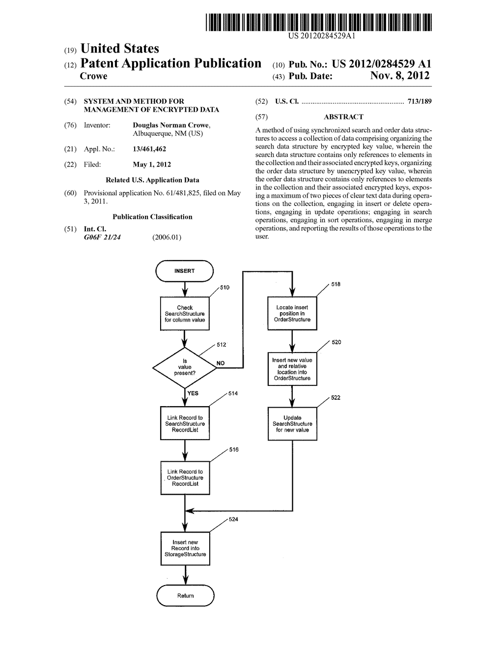 SYSTEM AND METHOD FOR MANAGEMENT OF ENCRYPTED DATA - diagram, schematic, and image 01