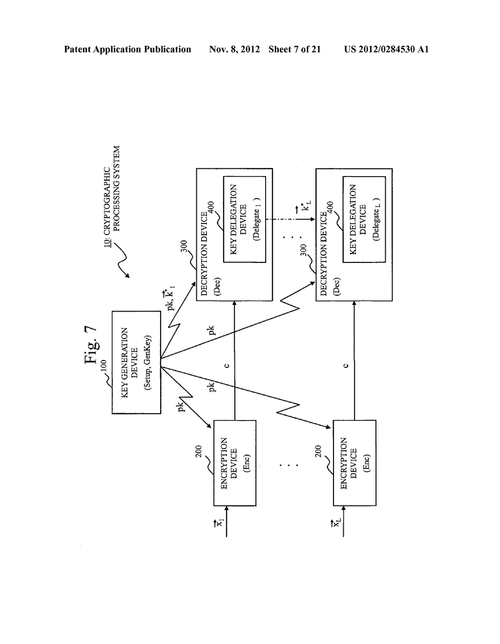 CRYPTOGRAPHIC PROCESSING SYSTEM, KEY GENERATION DEVICE, KEY DELEGATION     DEVICE, ENCRYPTION DEVICE, DECRYPTION DEVICE, CRYPTOGRAPHIC PROCESSING     METHOD, AND CRYPTOGRAPHIC PROCESSING PROGRAM - diagram, schematic, and image 08
