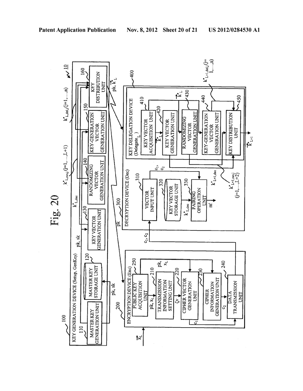 CRYPTOGRAPHIC PROCESSING SYSTEM, KEY GENERATION DEVICE, KEY DELEGATION     DEVICE, ENCRYPTION DEVICE, DECRYPTION DEVICE, CRYPTOGRAPHIC PROCESSING     METHOD, AND CRYPTOGRAPHIC PROCESSING PROGRAM - diagram, schematic, and image 21