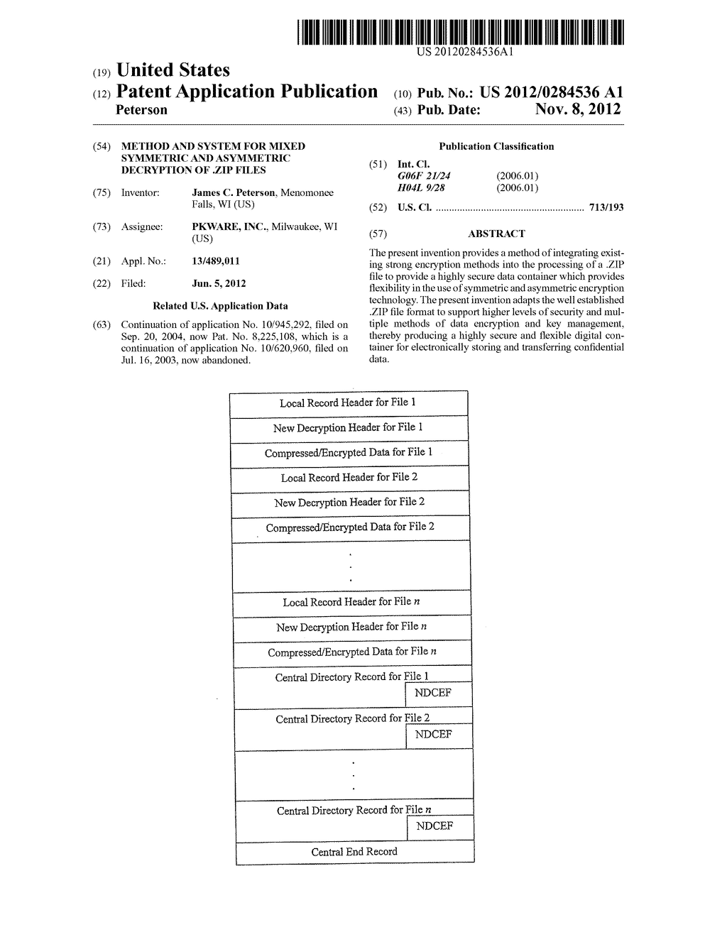 Method and System for Mixed Symmetric and Asymmetric Decryption of .ZIP     Files - diagram, schematic, and image 01