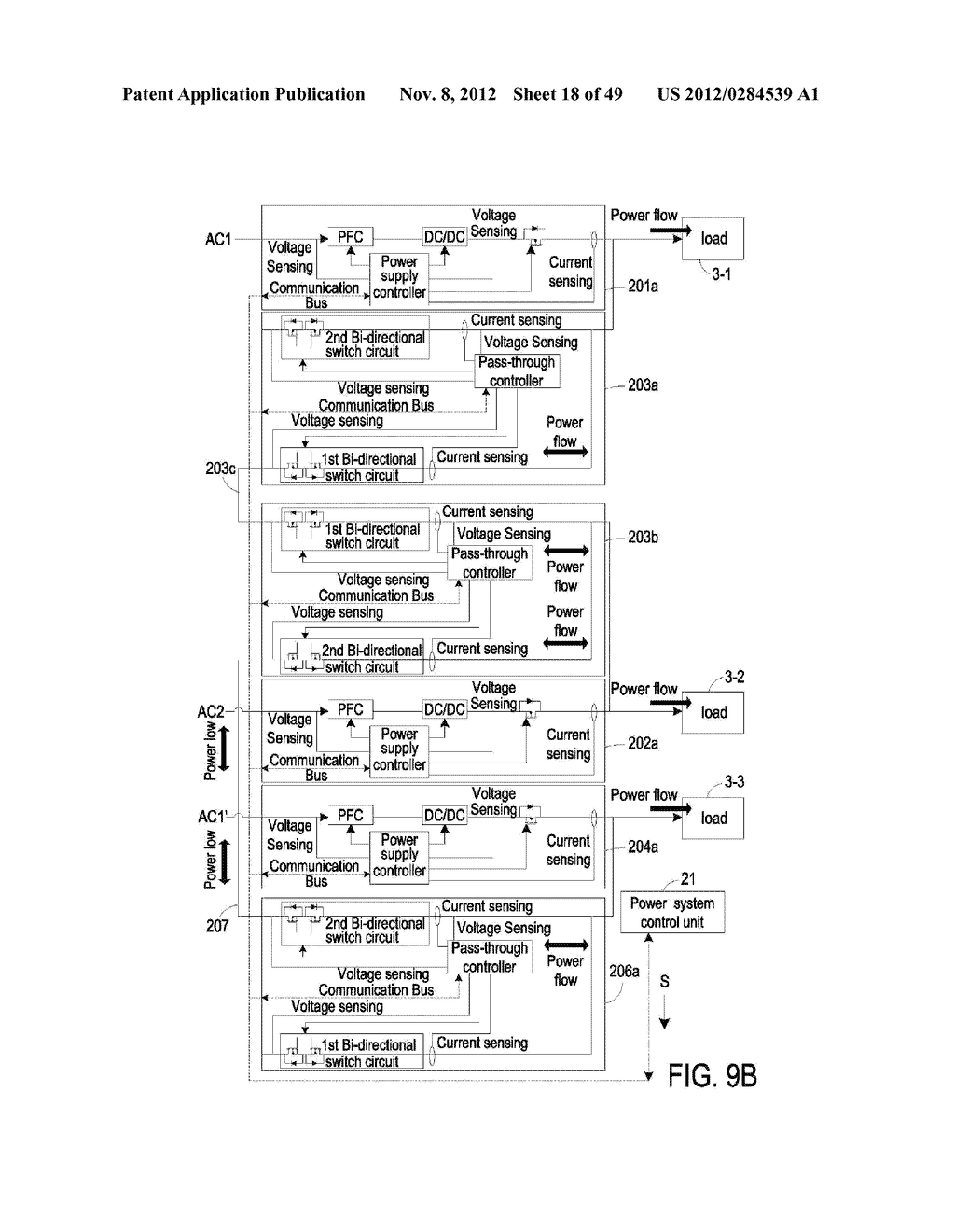 POWER MANAGEMENT SYSTEM CAPABLE OF SAVING POWER AND OPTIMIZING OPERATING     EFFICIENCY OF POWER SUPPLIES FOR PROVIDING POWER WITH BACK-UP OR     REDUNDANCY TO PLURAL LOADS - diagram, schematic, and image 19