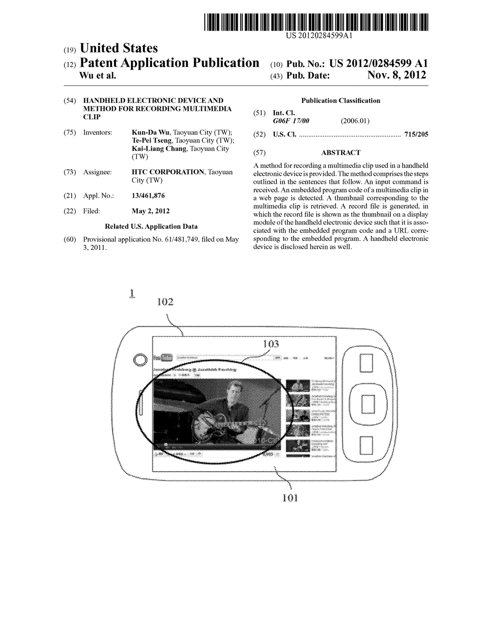 Handheld Electronic Device and Method for Recording Multimedia Clip - diagram, schematic, and image 01