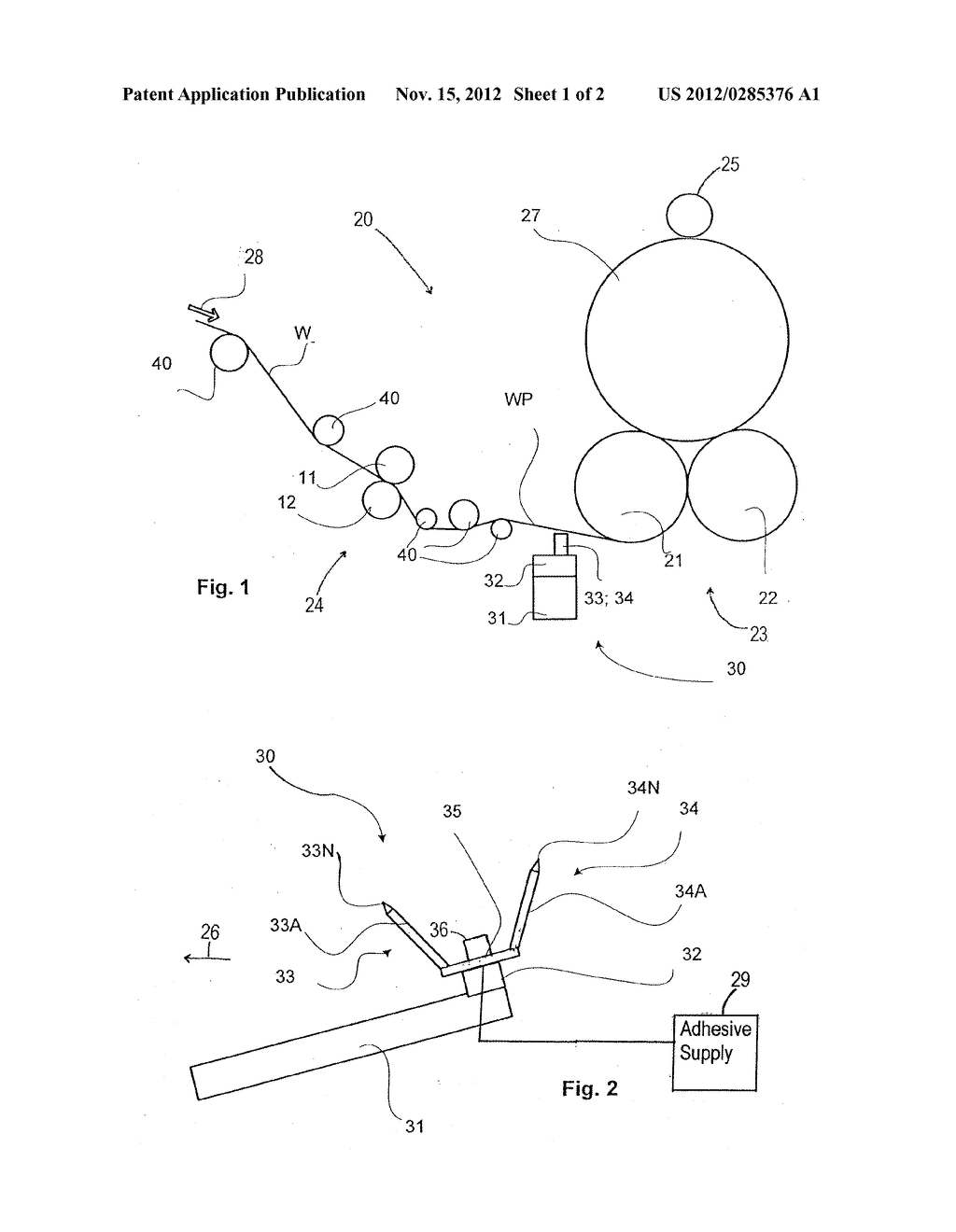 Device for Applying Adhesive in a Slitter-Winder of Fiber Web Machine - diagram, schematic, and image 02
