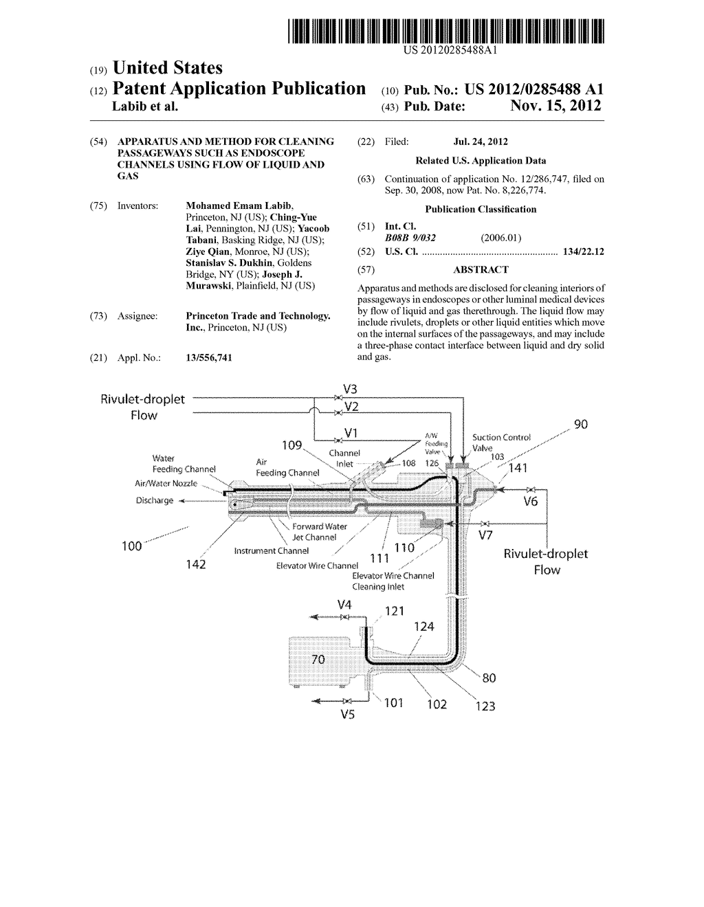 Apparatus and method for cleaning passageways such as endoscope channels     using flow of liquid and gas - diagram, schematic, and image 01