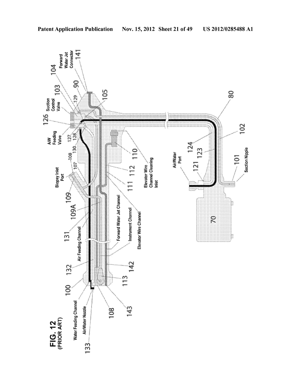Apparatus and method for cleaning passageways such as endoscope channels     using flow of liquid and gas - diagram, schematic, and image 22