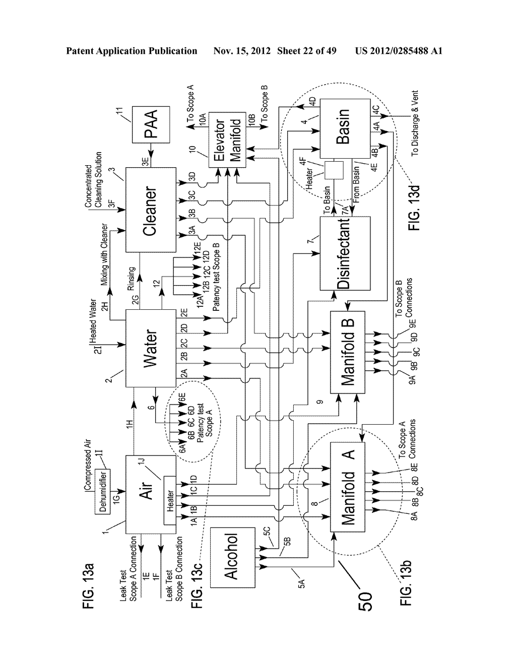 Apparatus and method for cleaning passageways such as endoscope channels     using flow of liquid and gas - diagram, schematic, and image 23