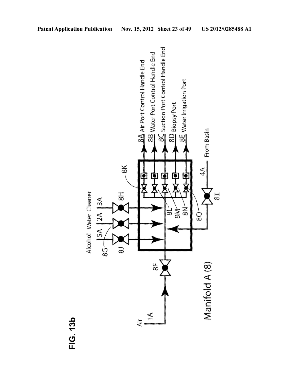 Apparatus and method for cleaning passageways such as endoscope channels     using flow of liquid and gas - diagram, schematic, and image 24