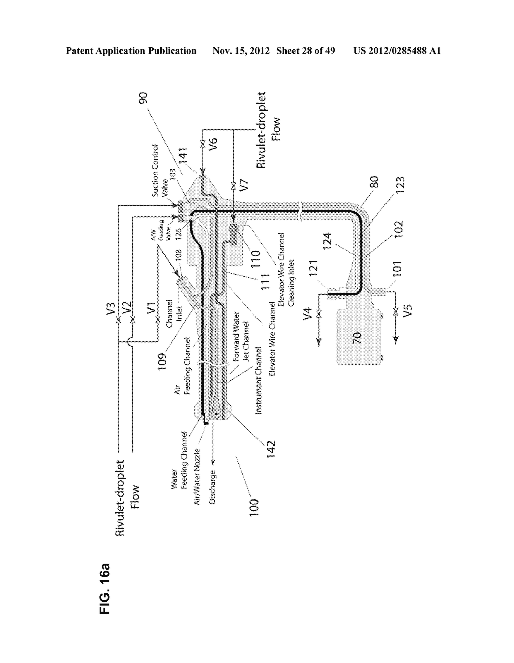 Apparatus and method for cleaning passageways such as endoscope channels     using flow of liquid and gas - diagram, schematic, and image 29