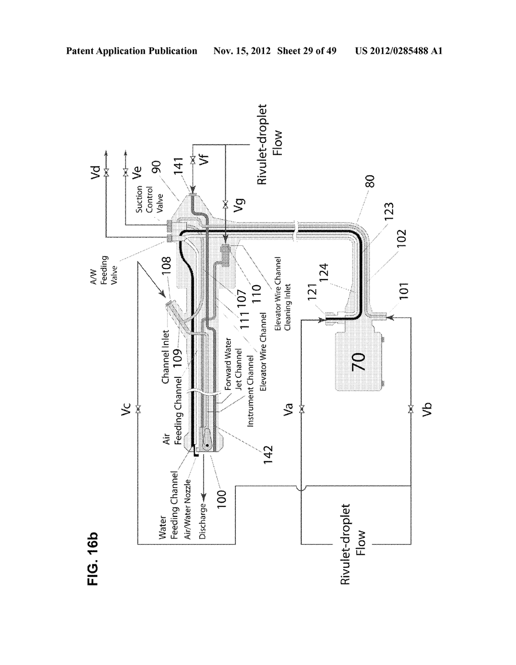 Apparatus and method for cleaning passageways such as endoscope channels     using flow of liquid and gas - diagram, schematic, and image 30